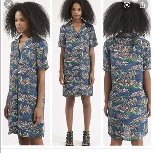 Topshop Hawaiian print silk shirtdress, size 4